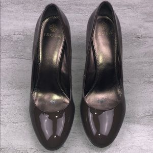 ISOLA Patent Leather Brown Heels Size 8